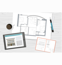 workplace technical project architect house plan vector image