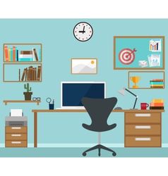 Workspace interior with office objects vector