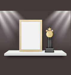 blank light frame and metal award trophy vector image