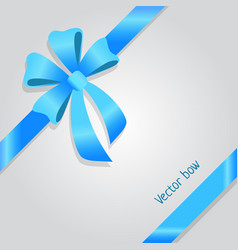 bow shiny wide blue ribbons four petals vector image