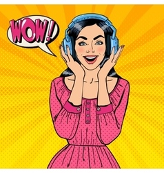 Excited Young Woman Listening Music vector image