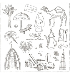 Hand drawn doodle uae travel set vector