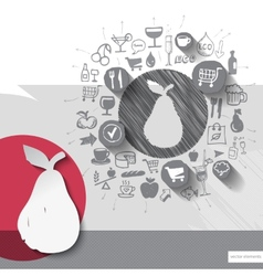 Hand drawn pear icons with food icons background vector image vector image
