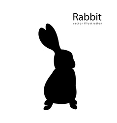 Rabbit black silhouette isolated vector image vector image