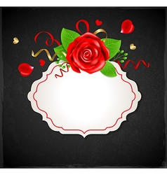 Red rose and green leaves vector image vector image