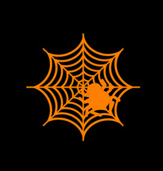 spider on web orange icon on black vector image vector image