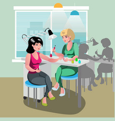 a woman gets a spa treatment from a nail master in vector image vector image