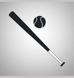 baseball bat and ball black and white vector image