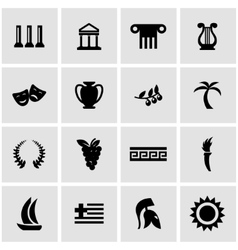 black greece icon set vector image vector image