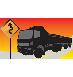 black truck on the road with signs vector image vector image
