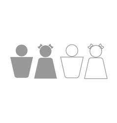 boy and girl icon grey set vector image vector image