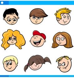 cartoon children faces set vector image
