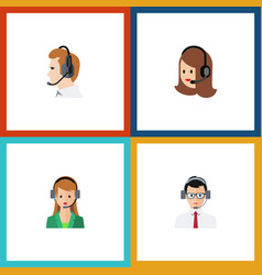 flat icon call set of secretary help service and vector image
