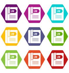 law book icon set color hexahedron vector image