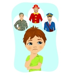 schoolboy thinking about future occupation vector image
