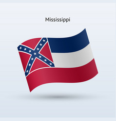 State of mississippi flag waving form vector