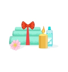 Towels Candle And Bottle With Skincare Product vector image