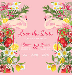 wedding card with tropical flowers flamingo vector image vector image