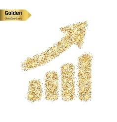Gold glitter icon of diagram isolated on vector image vector image