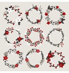 isolated christmas floral ponsettia decor wreaths vector image