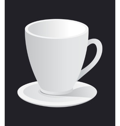 Photorealistic white cup and saucer vector