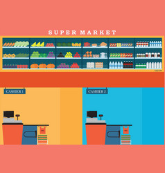 supermarket with fresh food on shelves and vector image