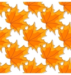 Autumnal orange maple leaves seamless pattern vector image vector image