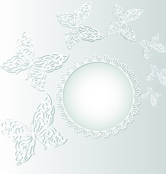 background with butterflies and white circle vector image vector image