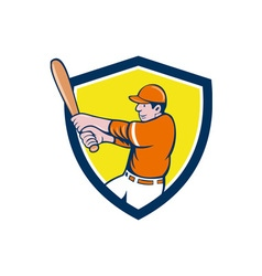 Baseball Player Batter Swinging Bat Crest Cartoon vector image