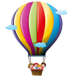 children riding on colorful balloon vector image