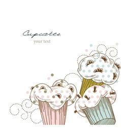 Cupcakes corner vector image