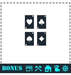Game cards icon flat vector