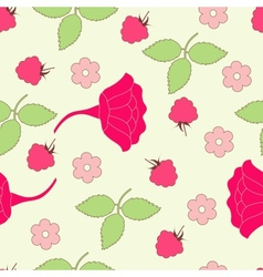 Seamless leafs and berry background vector image vector image