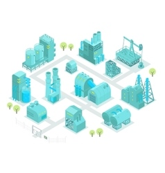 Set factory isometric oil production vector image vector image