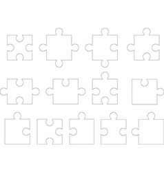 White puzzle pieces vector image