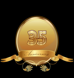 35th golden anniversary birthday seal icon vector image