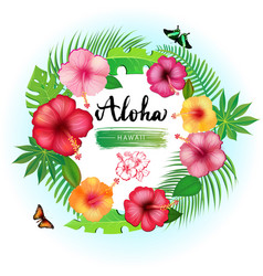 abstract background with tropical leaves vector image