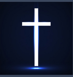 Abstract glowing christian cross vector