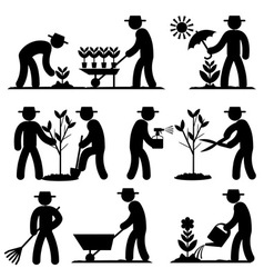 Agro people icons vector