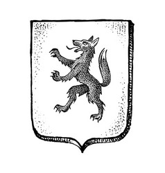 animal for heraldry in vintage style engraved vector image