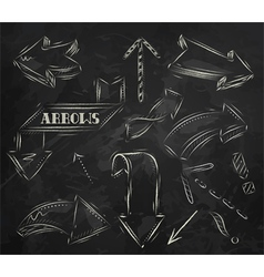 Arrow stylized drawing in chalk on the blackboard vector image
