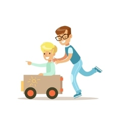 Boy and his dad playing toy car traditional male vector