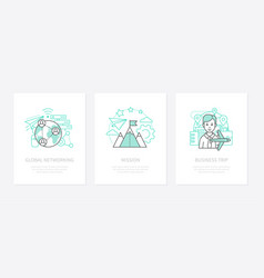 business communications - line design style icons vector image