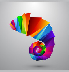Chameleon from color triangles logo vector
