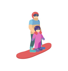 children with mother is riding a snowboard in vector image