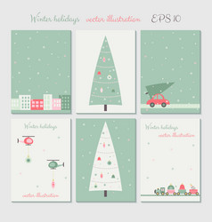Christmas city decoration cards set vector