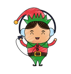 color pencil cartoon full body christmas elf with vector image