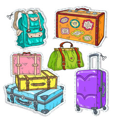 Colorful sticker set suitcase bag and backpack vector