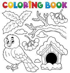 Coloring book winter bird theme 1 vector