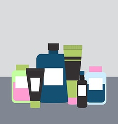 Cosmetics and Medicine Bottles in Flat Styl vector image